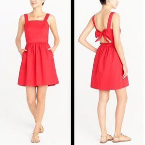 J. Crew Factory Red Tie-Back Apron Dress small